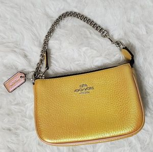 Coach hologram Iridescent yellow clutch wallet